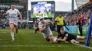 Will Addison touches down for Ulster's third try
