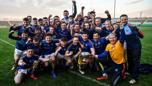Longford celebrate with the cup in Tullamore