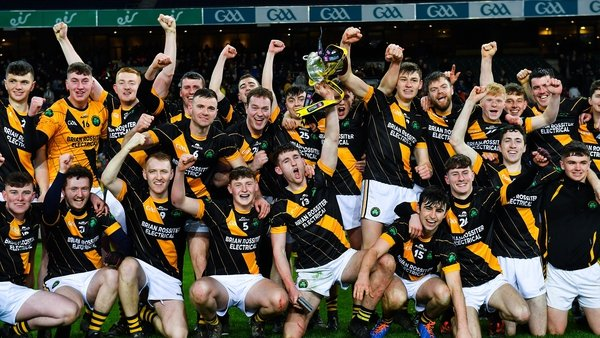 Conahy Shamrocks players celebrate their success in Croke Park
