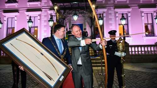 Jim Gavin, right, with Lord Mayor of Dublin Paul McAuliffe at the Conferring of the Honorary Freedom of Dublin City