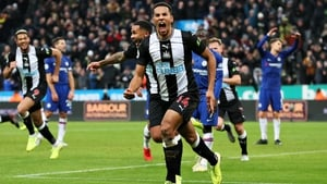 Isaac Hayden celebrates Newcastle's late winner at St James' Park