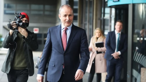 Micheál Martin leaves RTÉ after his interview on the This Week radio programme (Pic: RollingNews.ie)