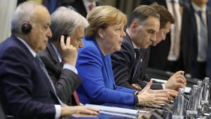 UN Special Envoy for Libya Ghassan Salame, Secretary General of the UN Antonio Guterres, German Chancellor Angela Merkel, German Foreign Minister Heiko Maas and Spokesman of the German government Steffen Seibert at the talks in Berlin