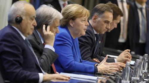 UN Special Envoy for Libya Ghassan Salame, Secretary General of the UN Antonio Guterres, German Chancellor Angela Merkel, German Foreign Minister Heiko Maas and Spokesman of the German government Steffen Seibert at the talks in Berlin