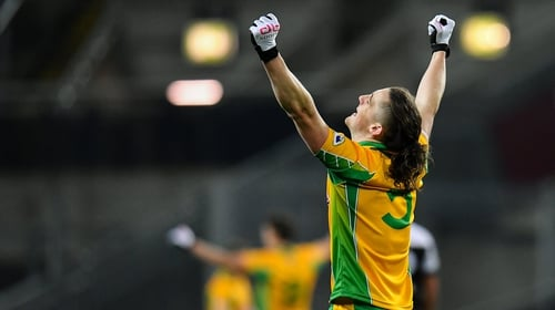 Kieran Molloy celebrates at the full-time whistle after Corofin defeated Kilcoo in the All-Ireland club football final at Croke Park