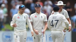 Joe Root (l) shares a joke with Ben Stokes - after the victory