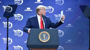 Donald Trump pictured the American Farm Bureau Federation Annual Convention and Trade Show on 19 January