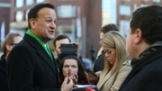 Fine Gael leader Leo Varadkar speaking to the media at the National Gallery in Dublin this morning