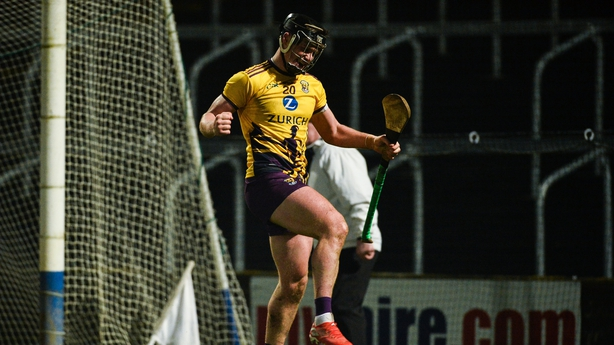 Conor McDonald of Wexford celebrates after scoring a late goal during the Walsh Cup Final