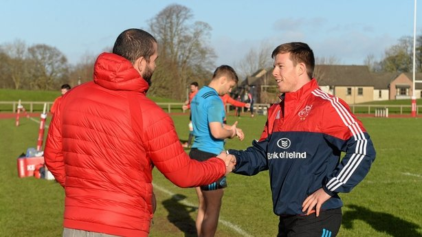 Jonny Holland exchanges a handshake with Andy Farrell in 2016 during his time as Munster temporary consultant
