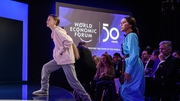 Greta Thunberg takes to the stage at the WEF