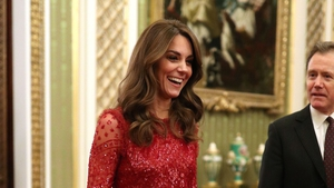 Christmas may be long past by now, but the Duchess of Cambridge broke out the red sequins for last night's event. . Photo: Getty