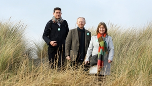 Green Party leader Eamon Ryan with Councillors David Healy and Caroline Conroy on Bull Island today (Photo: RollingNews.ie)