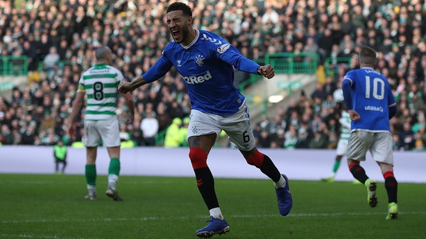 Connor Goldson of Rangers celebrates after Nikola Katic scores Rangers' winning goal in the Old Firm derby