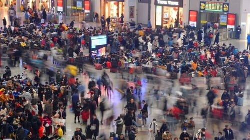 Passengers in Hongqiao Railway Station in Shanghai as millions return home for the Chinese New Year