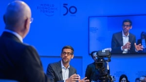 Alphabet's Sundar Pichai addressed a conference panel at the World Economic Forum in Davos today