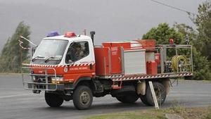A Numeralla Rural Fire truck near the scene of the crash