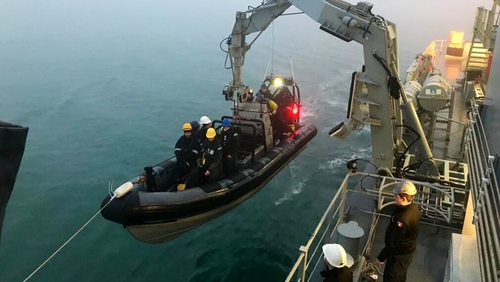Crew members from LÉ Samuel Beckett are taking part in the search (pic: Irish Naval Service)
