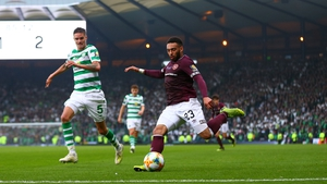 Jake Mulraney in action for Hearts in the Scottish Cup final against Celtic at Hampden Park in 2019