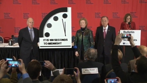 Former president Mary Robinson helps to unveil the Doomsday Clock