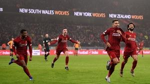 Roberto Firmino celebrate having scored the winner at Wolves