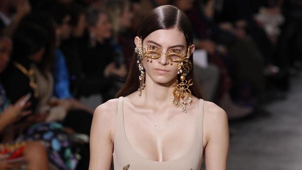 A model wears a creation for Schiaparelli Haute Couture Spring/Summer 2020 fashion collection (Francois Mori/AP)