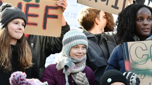 Greta Thunberg took part in a 'Fridays for Future' protests in Davos today