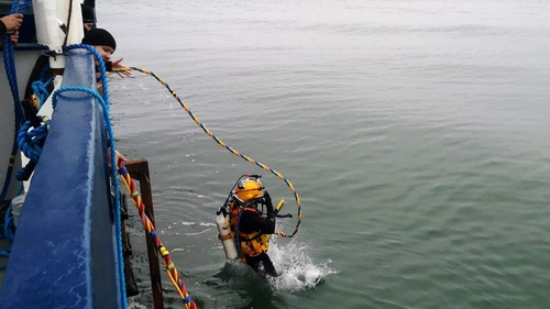 A Navy diver taking part in the recovery operation off Hook Head (Pic: Irish Naval Service)