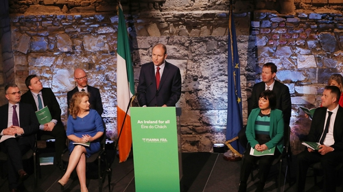 Members of the Fianna Fáil party at their manifesto launch