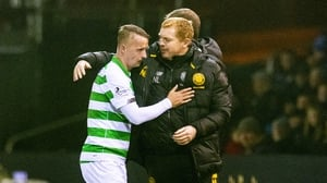 Celtic manager Neil Lennon (R) with Leigh Griffiths