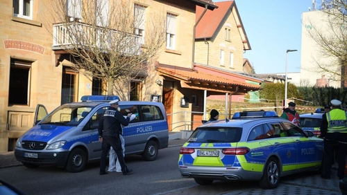 Police at the scene of the shooting in Rot am See, near Stuttgart
