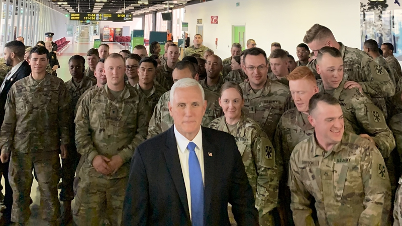 US vice-president Mike Pence meets troops at Shannon airport in January 2020