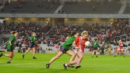 Saoirse Noonan of Cork in action against Karen McDermott