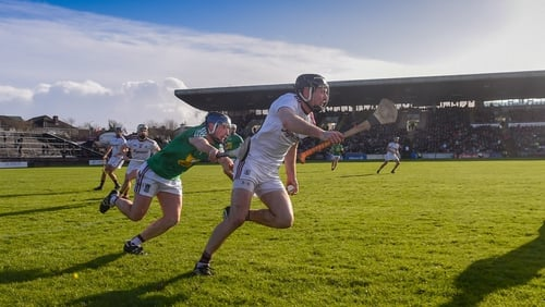 Pádraic Mannion of Galway in action against Robbie Greville of Westmeath