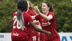 Niamh Fahey (R) celebrates scoring Liverpool's second goal