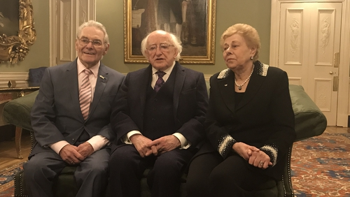 Campaigners Tomi Reichental and Suzi Diamond with President Michael D Higgins