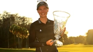 Madelene Sagstrom poses with the trophy