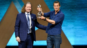 Mark Lyons from Alltech presenting survival expert Bear Grylls with the Alltech Humanitarian Award last year