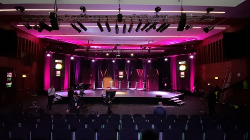 The set for tonight's Claire Byrne Live Leaders' Debate at NUIG