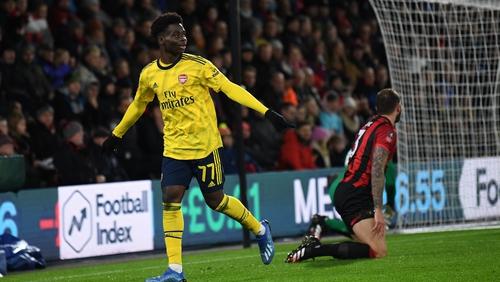 Bukayo Saka celebrates his goal against the Cherries
