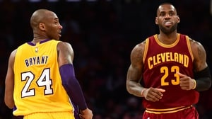 Kobe Bryant and LeBron James face off during their time with the Los Angeles Lakers and the Cleveland Cavaliers