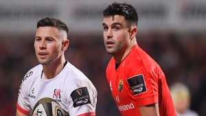 John Cooney (L) and Conor Murray are battling for the Ireland scrum-half position