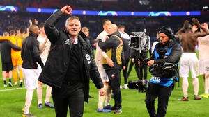 Ole Gunnar Solksjaer salutes the travelling fans after last March's incredible win against PSG
