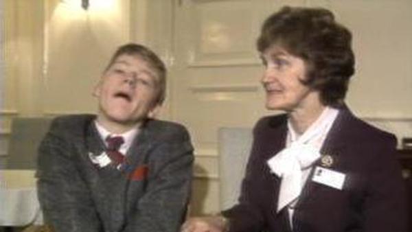 Bernadette Nolan alongside her award-winning writer son Christopher, who was born with severe cerebral palsy