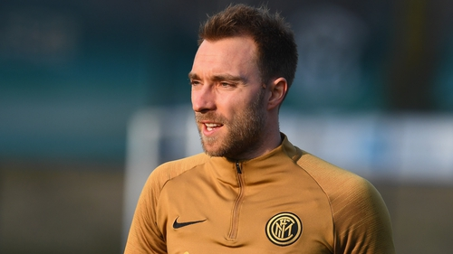 Christian Eriksen goes through his paces in his first training session with Inter Milan