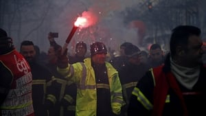 Thousands of firefighters attended the protest in the French capital