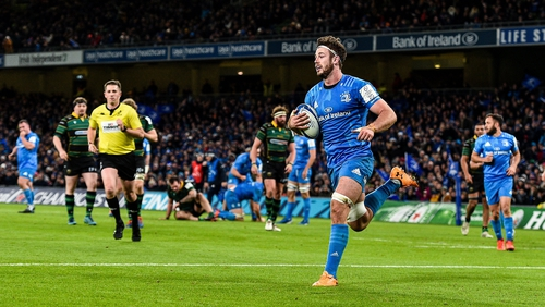Doris scoring for Leinster in their Champions Cup rout of Northampton