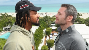 The champion and challenger face off in Miami ahead of Thursday's fight (photo: Ed Mulholland/Matchroom Boxing USA)
