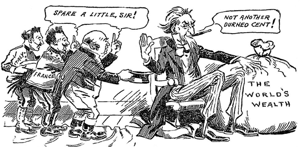 Cartoon on America's decision to discontinue aid to European governments Photo: Sunday Independent, 8 February 1920