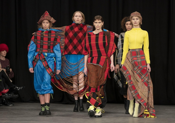 Models on the catwalk during the first day of Copenhagen Fashion Week (Liselotte Sabroe/AP)